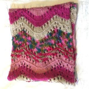 Nordstrom BP Bright Pink Crochet Circle Scarf